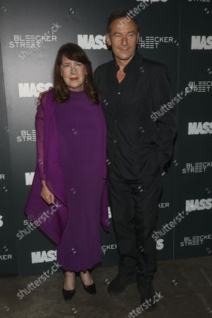 """Actors Ann Dowd, left, and Jason Isaacs, right, attend a special screening of """"Mass"""" at Metrograph, in New York"""