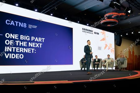 Marcel Gruber finalist of BSV Hackathon makes presentation for judges during CoinGeek Conference at Sheraton Times Square. Judges are (L - R) Steve Shadders, CTO nChain, Paul Rajchod, Managing Director of Ayre Venture, Dr. Craig Wright, Chief Scientist nChain, Donny Deutsch, TV Personality.