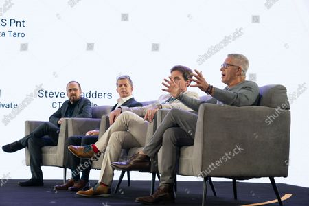 Judges for finalists of hackthon sit on stage during CoinGeek Conference at Sheraton Times Square. Judges are (L - R) Steve Shadders, CTO nChain, Paul Rajchod, Managing Director of Ayre Venture, Dr. Craig Wright, Chief Scientist nChain, Donny Deutsch, TV Personality.