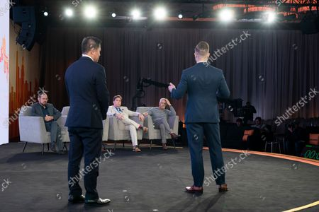 Marcel Gruber finalist of BSV Hackathon answers questions from judges during CoinGeek Conference at Sheraton Times Square. To his left is Founding President of Bitcoin Association Jummy Nguyen. Judges are (L - R) Steve Shadders, CTO nChain, Paul Rajchod, Managing Director of Ayre Venture, Dr. Craig Wright, Chief Scientist nChain, Donny Deutsch, TV Personality.