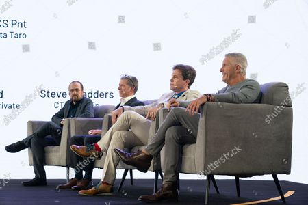 Stock Photo of Judges for finalists of hackthon sit on stage during CoinGeek Conference at Sheraton Times Square Judges are (L - R) Steve Shadders, CTO nChain, Paul Rajchod, Managing Director of Ayre Venture, Dr. Craig Wright, Chief Scientist nChain, Donny Deutsch, TV Personality.