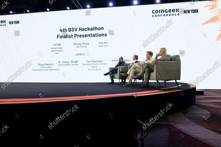 Stock Image of Judges for finalists of hackthon sit on stage during CoinGeek Conference at Sheraton Times Square. Judges are (L - R) Steve Shadders, CTO nChain, Paul Rajchod, Managing Director of Ayre Venture, Dr. Craig Wright, Chief Scientist nChain, Donny Deutsch, TV Personality.