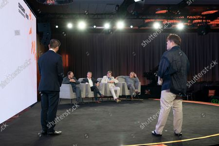Meta Taro of TKS Pnt from Japan finalist of BSV Hackathon answers questions from judges during CoinGeek Conference at Sheraton Times Square. To his left is Founding President of Bitcoin Association Jummy Nguyen. Judges are (L - R) Steve Shadders, CTO nChain, Paul Rajchod, Managing Director of Ayre Venture, Dr. Craig Wright, Chief Scientist nChain, Donny Deutsch, TV Personality.