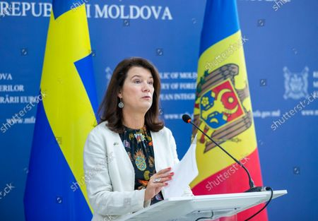 Swedish Foreign Minister and OSCE Chairman-in-Office Ann Linde attends a briefing with Moldovan Minister of Foreign Affairs and European Integration Nicu Popescu (not seen), after their meeting during her visit in Moldova at the Ministry of Foreign Affairs building in Chisinau, Moldova, 06 October 2021.