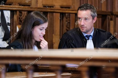 Stock Image of Lawyer Audrey Lamy and Lawyer Alexandre Wilmotte, representing the accused pictured during the jury constitution session at the assizes trial of Sami Haenen (44) from Flemalle, for facts assimilated to press offence before the Assizes Court of Liege, Wednesday 06 October 2021, in Liege. S.H. is accused of threat of terror attacks towards women or feminists, incitement to hatred or violence towards women. The facts have been denounced by Interpol Paris who said a Belgian claim to be 'the new Elliot Rodgers'. Two persons also denounced publications on false name as Mike Dubois, Sammy d'Arabie, on social networks Facebook, Twitter and Bittube. It is extremely rare that press offence goes to an assizes trial as it is laid down by law.