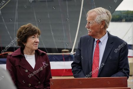Sen. Susan Collins, R-Maine, left, and Sen. Angus King, I-Maine, chat, in Bath, Maine