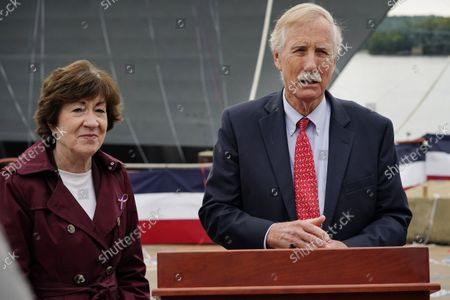 Sen. Susan Collins, R-Maine, left, and Sen. Angus King, I-Maine, take questions from reporters, in Bath, Maine