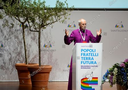 """Archbishop of Canterbury Justin Welby delivers his speech at the interreligious meeting 'Brother peoples, future land"""" organized by the Sant'Egidio Community at 'La Nuvola' (the cloud) convention center in Rome"""