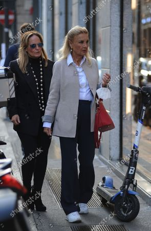 Stock Picture of Barbara Bouchet strolls through the streets of the center with a friend, stopping to browse the windows of the boutiques of the quadrilateral.