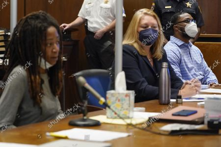 Tiffany Taylor, left, who survived an attack by Khalil Wheeler-Weaver, right, speaks during his sentencing in Newark, N.J., . Wheeler-Weaver, a New Jersey man who used dating apps to lure three women, including Sarah Butler, to their deaths and attempted to kill a fourth woman five years ago, was sentenced to 160 years in prison on Wednesday, as he defiantly proclaimed his innocence