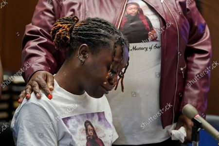 Stock Photo of Aliyah, left, and Laverne Butler, sister and mother of Sarah Butler, wear shirts with Sarah Butler's picture as they give victim impact statements during the sentencing for Khalil Wheeler-Weaver in Newark, N.J., . Wheeler-Weaver, a New Jersey man who used dating apps to lure three women, including Robin West, to their deaths and attempted to kill a fourth woman five years ago, was sentenced to 160 years in prison on Wednesday, as he defiantly proclaimed his innocence