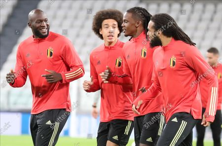 Belgium's Romelu Lukaku, Belgium's Axel Witsel, Belgium's Dedryck Boyata and Belgium's Jason Denayer pictured during a training session of the Belgian national soccer team Red Devils, in Torino, Italy, on Wednesday 06 October 2021. The team is preparing for the semi-finals of the Nations League, against France on Thursday.