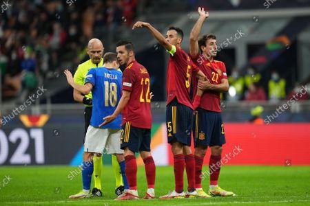 The referee shows a red card to Leonardo Bonucci of Italy