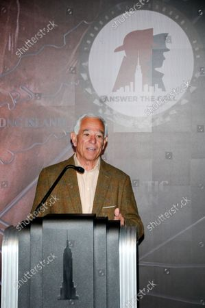 """Bobby Valentine speaks during a lighting ceremony. Former New York Mets baseball player and manager, Stamford mayoral candidate, Bobby Valentine visits the Empire State Building to honor """"Answer The Call"""" NYPD & NYFD Children's Benefit Fund, in New York City."""