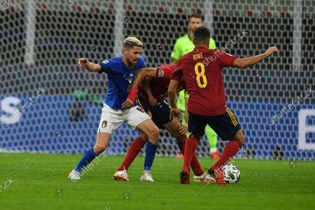 "Jorginho Jorge Luiz Frello Filho (Italy)Sergio Busquets (Spain)Koke Jorge Resurreccion Merodio (Spain)                       during the Uefa ""Nations League 2020-2021"" match between Italy 1-2 Spain   at Giuseppe Meazza Stadium in Milano, Italy."