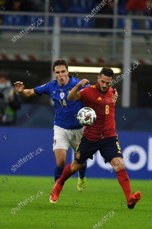 "Koke Jorge Resurreccion Merodio (Spain)Federico Chiesa (Italy)                         during the Uefa ""Nations League 2020-2021"" match between Italy 1-2 Spain   at Giuseppe Meazza Stadium in Milano, Italy."