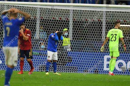 "Koke Jorge Resurreccion Merodio (Spain)Lorenzo Insigne (Italy)Unai Simon (Spain)                       during the Uefa ""Nations League 2020-2021"" match between Italy 1-2 Spain   at Giuseppe Meazza Stadium in Milano, Italy."