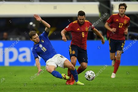 "Nicolo Barella (Italy)Koke Jorge Resurreccion Merodio (Spain)                          during the Uefa ""Nations League 2020-2021"" match between Italy 1-2 Spain   at Giuseppe Meazza Stadium in Milano, Italy."
