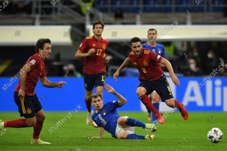 "Stock Photo of Mikel Oyarzabal (Spain)Nicolo Barella (Italy)Koke Jorge Resurreccion Merodio (Spain)                       during the Uefa ""Nations League 2020-2021"" match between Italy 1-2 Spain   at Giuseppe Meazza Stadium in Milano, Italy."