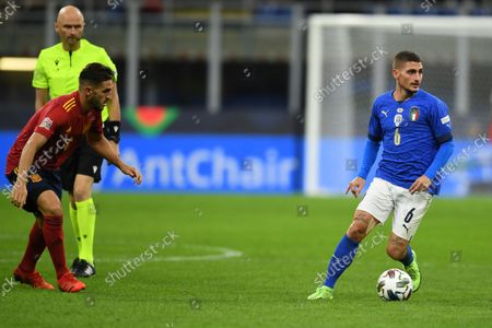 """Stock Picture of Marco Verratti (Italy)Koke Jorge Resurreccion Merodio (Spain)                       during the Uefa """"Nations League 2020-2021"""" match between Italy 1-2 Spain   at Giuseppe Meazza Stadium in Milano, Italy."""
