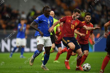 "Aymeric Laporte (Spain)Moise Kean (Italy)Koke Jorge Resurreccion Merodio (Spain)                           during the Uefa ""Nations League 2020-2021"" match between Italy 1-2 Spain   at Giuseppe Meazza Stadium in Milano, Italy."