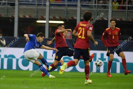 "Federico Chiesa (Italy)Koke Jorge Resurreccion Merodio (Spain)Pau Torres (Spain)                       during the Uefa ""Nations League 2020-2021"" match between Italy 1-2 Spain   at Giuseppe Meazza Stadium in Milano, Italy."