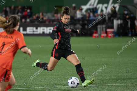 Stock Photo of Sophia Smith (9 Portland Thorns) shot on goal during the National Womens Soccer League game between Portland Thorns v Houston Dash at Providence Park in Portland, Oregon