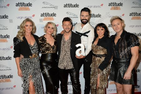 """Stock Image of Lisa Scott-Lee, Lee Latchford-Evans, Claire Richards, Ian """"H"""" Watkins and Faye Tozer from Steps with Rylan Clark"""