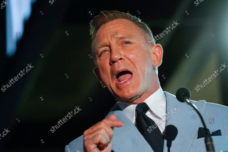 Daniel Craig speaks during a ceremony in his honor as he receives a new star on the Hollywood Walk of Fame in Los Angeles, California, USA, 06 October 2021.