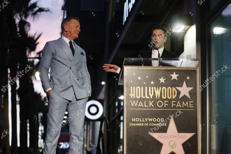 Daniel Craig and US actor Rami Malek attend a ceremony in Daniel Craig's honor as he receives a new star on the Hollywood Walk of Fame in Los Angeles, California, USA, 06 October 2021.