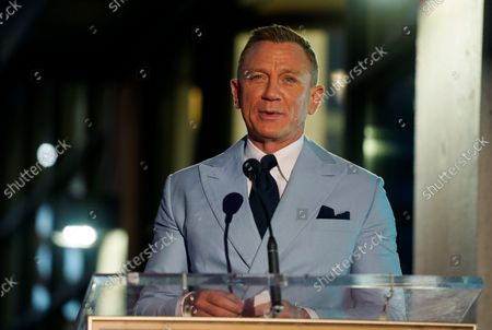 Actor Daniel Craig addresses the audience during a ceremony to award him a star on the Hollywood Walk of Fame, in Los Angeles