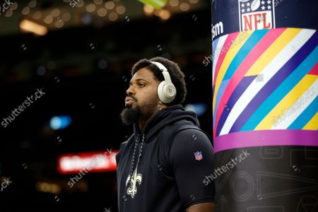 New Orleans Saints defensive end Cameron Jordan (94) warms up before an NFL football game against the New York Giants, in New Orleans