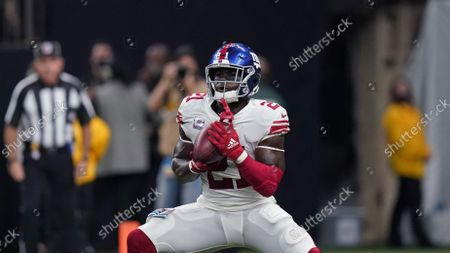 New York Giants Adoree' Jackson (22) fields a punt in the first half of an NFL football game against the New Orleans Saints in New Orleans