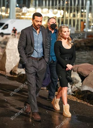 Stock Photo of Reese Witherspoon and Jesse Williams at the movie set of the 'Your Place or Mine' in New York City.