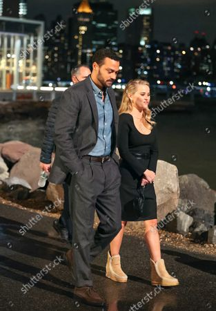 Stock Picture of Reese Witherspoon and Jesse Williams at the movie set of the 'Your Place or Mine' in New York City.