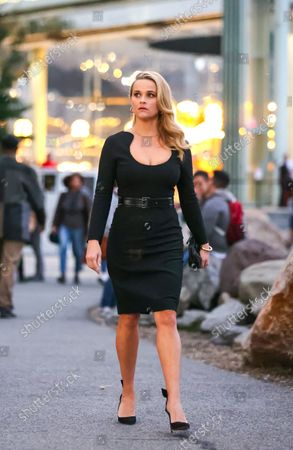 Reese Witherspoon is seen at the movie set of the 'Your Place or Mine' in New York City.
