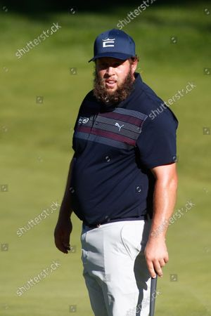 Stock Photo of Andrew Johnston of England looks on during the Acciona Open Espana of Golf, Spain Open, at Casa de Campo on October 07, 2021, in Madrid, Spain.