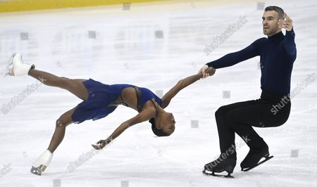 Stock Image of Vanessa James and Eric Radford of Canada perform their short program during the figure skating Finlandia Trophy Espoo international figure skating competition in Espoo, Finland, on October 7, 2021.