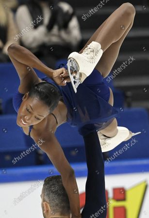 Stock Photo of Vanessa James and Eric Radford of Canada perform their short program during the figure skating Finlandia Trophy Espoo international figure skating competition in Espoo, Finland, on October 7, 2021.