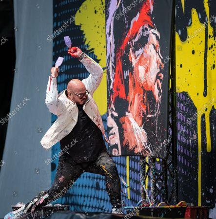 Editorial image of David Garibaldi performance painter, Germania Insurance Amphitheater, Austin, USA - 29 Sep 2021