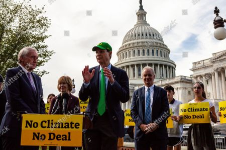 Senator Ron Wyden (D-OR) speaks during a press conference with Sunrise Movement, Evergreen Action, and the Hip Hop Caucus reiterating their commitment to inclusion of climate solutions in the $3.5 trillion Build Back Better Act (a.k.a. reconciliation budget).