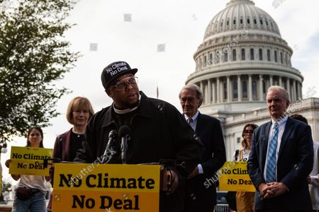 Rev. Lennox Yearwood Jr. of the Hip Hop Caucus makes an impassioned speech during a press conference with Sunrise Movement, Evergreen Action, and US Senators reiterating their commitment to inclusion of climate solutions in the $3.5 trillion Build Back Better Act (a.k.a. reconciliation budget).