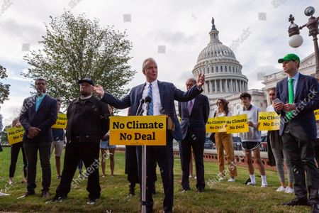 Senator Chris Van Hollen (D-MD) speaks during a press conference with Sunrise Movement, Evergreen Action, and the Hip Hop Caucus reiterating their commitment to inclusion of climate solutions in the $3.5 trillion Build Back Better Act (a.k.a. reconciliation budget).