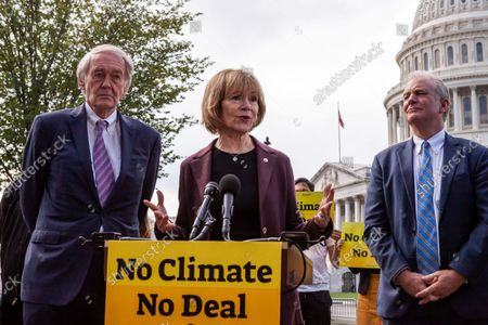 Senator Tina Smith (D-MN) speaks during a press conference with Sunrise Movement, Evergreen Action, and the Hip Hop Caucus reiterating their commitment to inclusion of climate solutions in the $3.5 trillion Build Back Better Act (a.k.a. reconciliation budget).