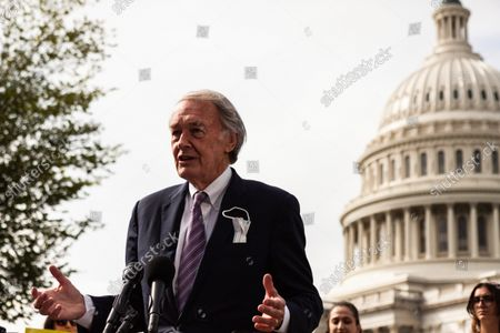 Senator Ed Markey (D-MD) speaks during a press conference with Sunrise Movement, Evergreen Action, and the Hip Hop Caucus reiterating their commitment to inclusion of climate solutions in the $3.5 trillion Build Back Better Act (a.k.a. reconciliation budget).