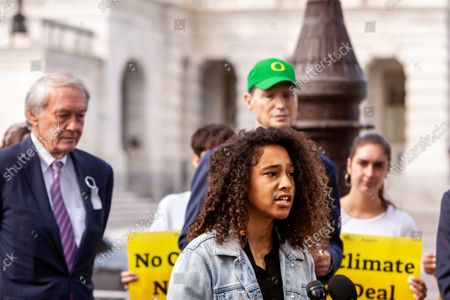 Michaela Jefferson of Sunrise Movement speaks during a press conference with US Senators, Evergreen Action, and the Hip Hop Caucus reiterating their commitment to inclusion of climate solutions in the $3.5 trillion Build Back Better Act (a.k.a. reconciliation budget).