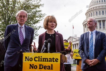 Stock Picture of Senator Tina Smith (D-MN) speaks during a press conference with Sunrise Movement, Evergreen Action, and the Hip Hop Caucus reiterating their commitment to inclusion of climate solutions in the $3.5 trillion Build Back Better Act (a.k.a. reconciliation budget).