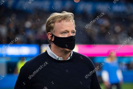 Stock Picture of National Football League commissioner Roger Goodell walks on the field before an NFL football game between the Los Angeles Chargers and the Las Vegas Raiders, in Inglewood, Calif
