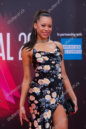 Stock Photo of English singer Blithe Saxon attends the headline gala of 'Spencer' during the BFI London Film Festival at the Royal Festival Hall in London, Britain, 07 October 2021. The British Film Institute festival runs from 06 to 17 October.