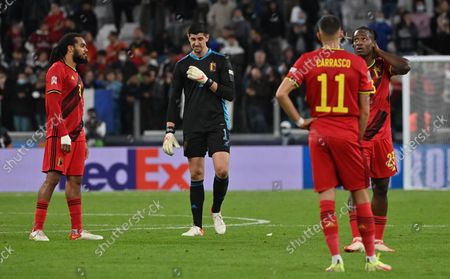 Belgium's Jason Denayer and Belgium's goalkeeper Thibaut Courtois look dejected after a soccer game between Belgian national team Red Devils and France, the semi-finals of the Nations League, in Torino, Italy, on Thursday 07 October 2021.